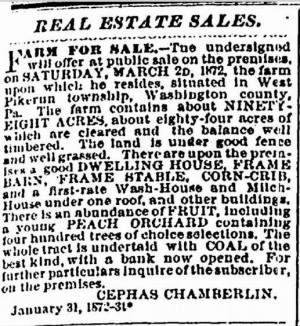 Cephas Chamberlin 1872 Farm Sale Notice.JPG