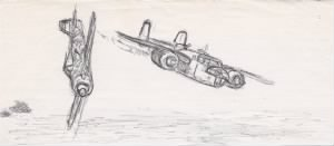 "Lt Doug Orr's drawing of the ""Battle in the Air"" on 20 March, 1943"