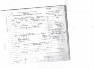 Death Certificate of Margaret Ann Moore Macon