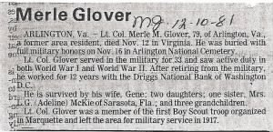 Merle Glover Obituary