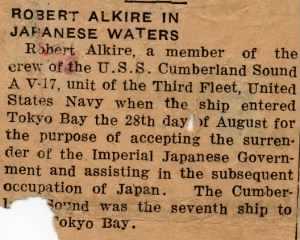 Robert Alkire newspaper clipping