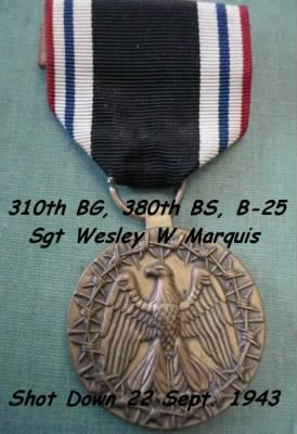 310thBG,380thBS, Sgt Wesley Marquis, Shot-Down/POW 22 Sept. 1943 /Stalag 17