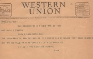 March 17, 1945 Telegram-William Briggs returned to allied foreces