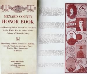 Page From Menard County Honor Book of WWI