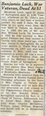 Obituary for Benjamin Harrison Luck from Springfield Newspaper.