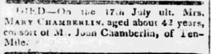 Mary Chamberlin 1814 Ten Mile Death Notice.JPG