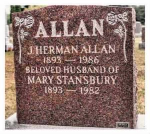 Jacob Herman Allan Headstone