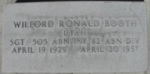 Wilford Ronald Booth Headstone