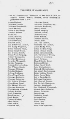 Names of Foreigners who took the Oath of Allegiance, 1727-1775. › Page 121 - Fold3.com