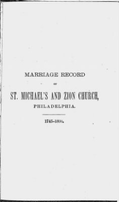 Marriage Record of St. Michael's and Zion Church, Philadelphia. 1745-1800. › Page 291 - Fold3.com