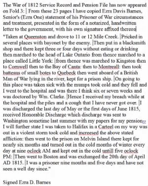 Ezra Davis Barnes own account of his prisioner of war experiences in Quebec and Melville Prison Halifax, Nova Scotia.png