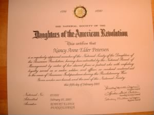Daughters of the American Revolution Certificate #833222