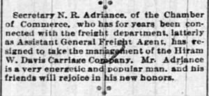 Newton R Adriance 1891 to Become Carriage Co Mgr.jpg