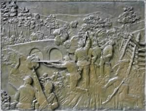 Bronze bas-relief from the monument of the fight at Burnside's Bridge.png