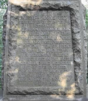 Closeup of the text from the 20th Maine Infantry monument on Big Round Top at Gettysburg.png