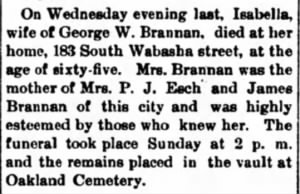 The Broad Axe 3 Jan 1895 - Isabella Brannan obit.PNG