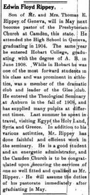 E. Floyd Rippey 1911 to be Pastor of Camden, NY, Presby Church.jpg