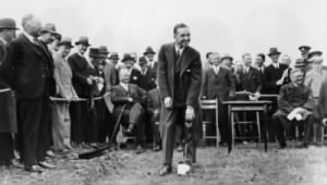 Edsel Ford turning the first sod at the site of Ford's plant at Dagenham.jpg