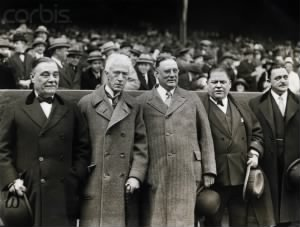 Yankees Co-Owner Jacob Ruppert, MLB Comissioner Judge Landis,Yankees Co-Owner Col. Huston, Boston Red Sox Owner Harry Frazee and Bronx Borough President.jpg