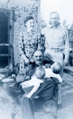 Joe Melrose, Hugh's twins, and Guy Melrose, younger son of Joe.jpg