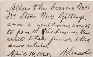 A pass Abraham Lincoln wrote for the wife of Robert King Stone.png