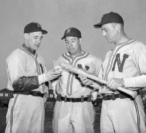Bob Feller - Ben Chapman and Ace Parker.jpg
