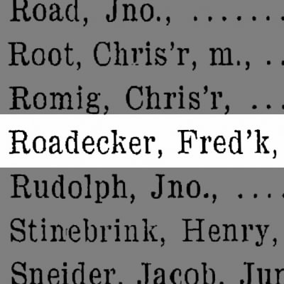 Roadecker, Fred'k