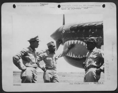 Fold3 Image - 3 members of a black fighter squadron in WWII