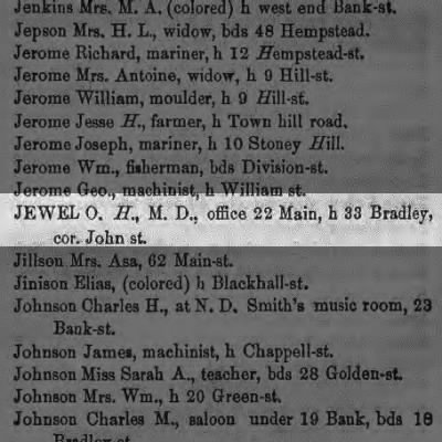 Doctor O H Jewel City Directory New London, Connecticut 1859-60