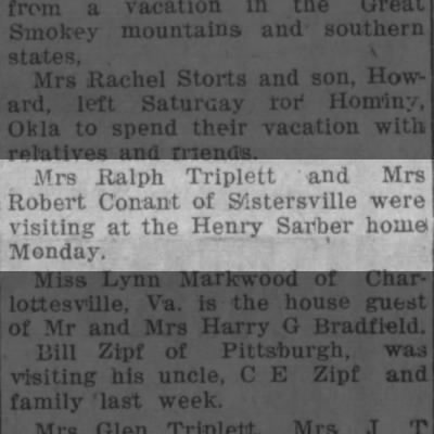 Mrs Ralph Triplett visits at Henry Sarbers home