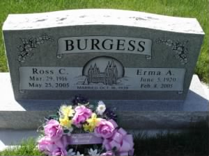 Burgess Ross Erma headstone.JPG