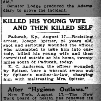 Death Notice: Paducah, KY, August 1912: Joseph Spitzer, age 25 and wife