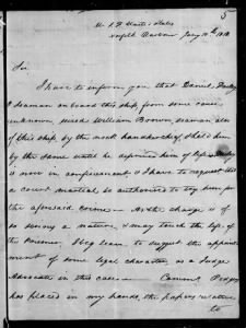 Fold3 Image - Letter from Captain Stephen Decatur to Secretary of Navy Paul Hamilton requesting a court martial for seaman Daniel Dailey after he murdered fellow seaman William Brown.