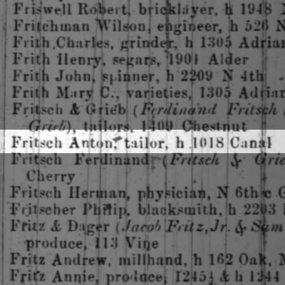 Fritsch Anton, tailor, h 1018 Canal