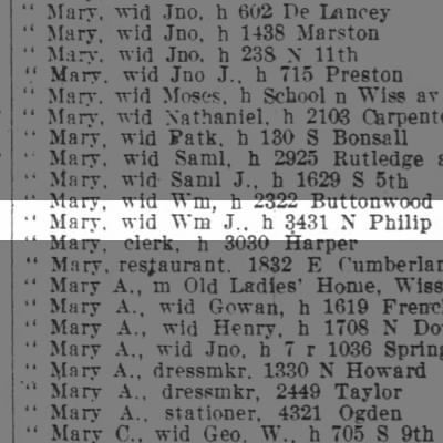 Brown Mary, wid Wm J., h 3431 N Philip