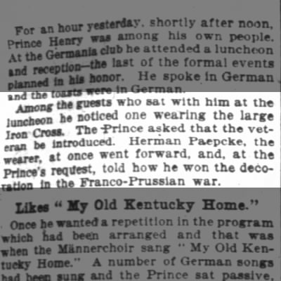 Prince Henry, Hermann P. and iron cross