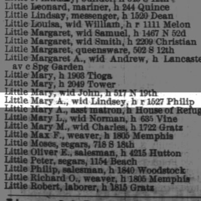 Little Mary A., wid Lindsey, h r 1527 Philip